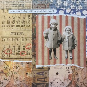 Start Each Day with a Grateful Heart | Amelia Kraemer | Encaustic Mixed Media | 6x6