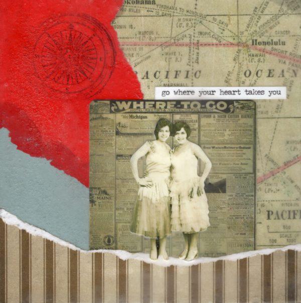 Go Where Your Heart Takes You | Amelia Kraemer | Encaustic Mixed Media | 6x6