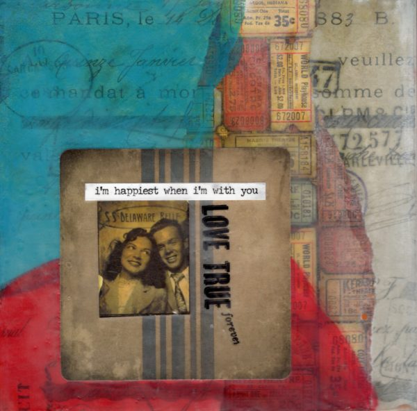 I'm Happiest When I'm With You | Amelia Kraemer | Encaustic Mixed Media | 6x6