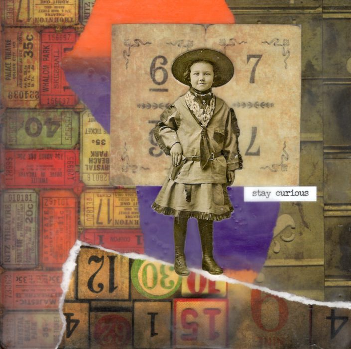 Stay Curious | Amelia Kraemer | Encaustic Mixed Media | 6x6