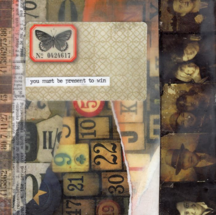 You Must Be Present To Win | Amelia Kraemer | Encaustic Mixed Media | 6x6