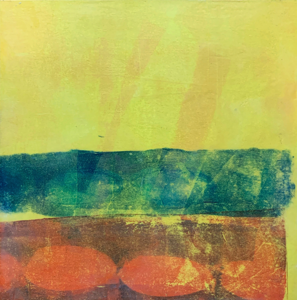 A Little Less Lonely Together | Amelia Kraemer | Encaustic Mixed Media Monoprint | 12x12