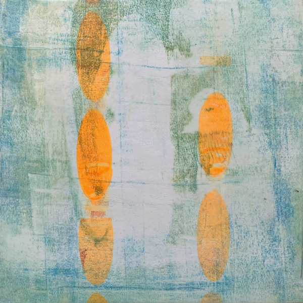 Extra Bright | Amelia Kraemer | Encaustic Mixed Media Monoprint | 12x12