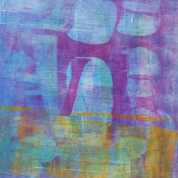 I Push It Down | Amelia Kraemer | Encaustic Mixed Media Monoprint | 12x12