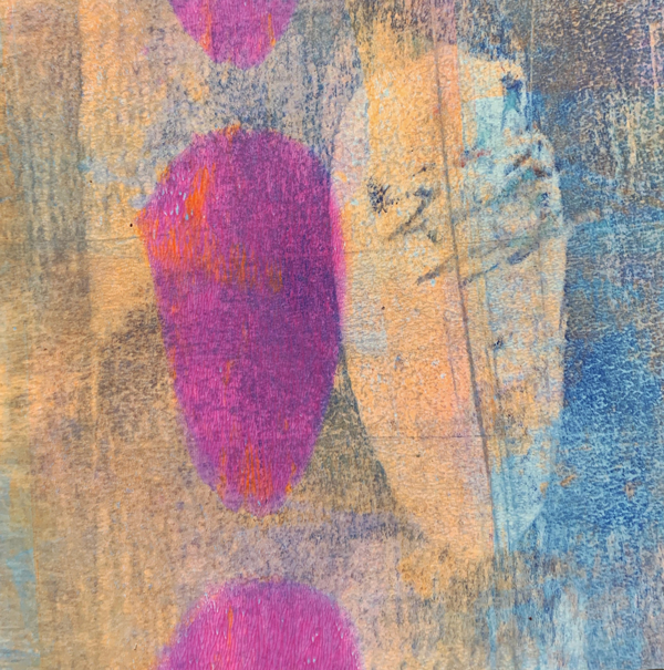 Let's Get Away Together | Amelia Kraemer | Cold Wax Mixed Media Monoprint | 6x6
