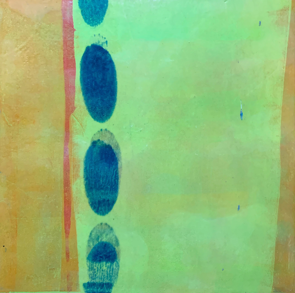Push Me To The Edge | Amelia Kraemer | Encaustic Mixed Media Monoprint | 12x12
