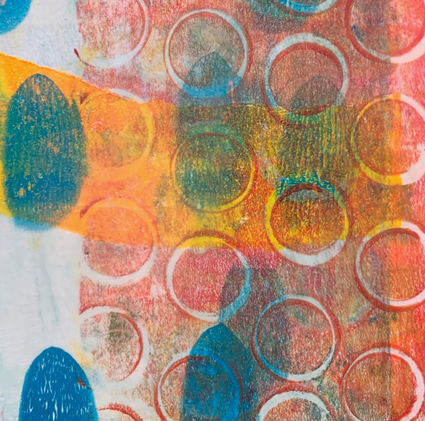Won't Admit What I Already Know | Amelia Kraemer | Encaustic Mixed Media Monoprint | 6x6