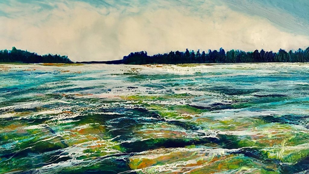 Encaustic painting of Lake Huron shoreline